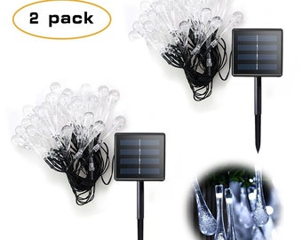 2 Pack 30 Solar Powered LED Water Drop Icicle Lights - 20 feet long - Cool White - 2 Pack USA Seller - Super Fast Shipping