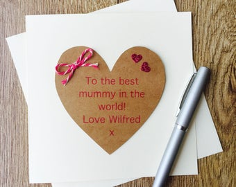 Handmade Personalised Mother's Day Card, Best Mummy In The World Card