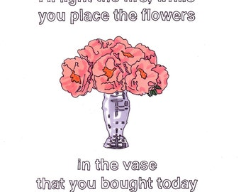 Our House/Peonies- 8x10 Framed Original Illustration