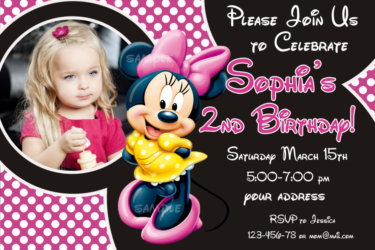 Sale minnie mouse birthday invitation minnie mouse zoom filmwisefo Image collections