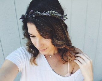 Lovely Little Lavender Crown-  lavender Flower Crown, fresh flowercrown, real flower crown, dried flower crown, floral headband