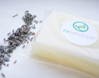 Lanolin Soap for Wool Care - Organic Relanolizer -  Lanolize Wool Diaper Covers - organic lavender and organic patchouli -glycerin