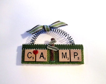 Camp Camping Scrabble Tile Ornaments
