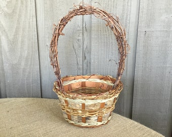 Birch basket/ wedding basket/ Flower girl basket/ woodland basket/ rustic basket/ rustic woodland wedding basket/altered rustic birch basket