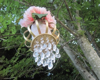 Tears of Joy Candle Chandelier or Isle Marker in Gold and Crystal MADE TO ORDER