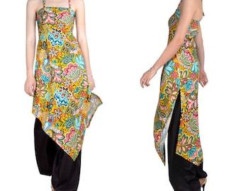 Bustier (M89) printed cotton long tunic dress