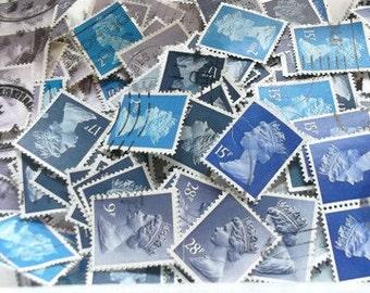 Blue British postage stamp mix | Blues & lavender purple GB Great Britain Machin stamps, postal ephemera, craft, collage, decoupage, upcycle
