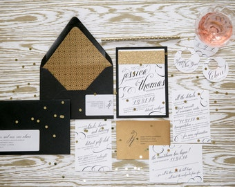 new years eve wedding invitation black and gold glitter