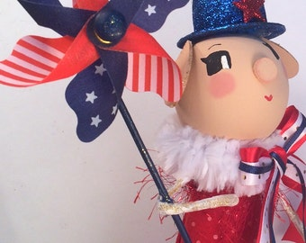 July 4th centerpiece 4th of july decor pig tree topper red white blue ooak art doll toni kelly original patriotic pig party decor america