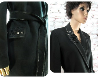 black coat - knee length coat - elegant coat - designer coat - casual coat  , Size 12 Medium ,# 172