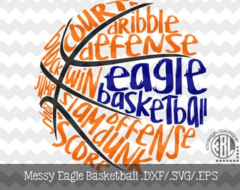 Messy Eagle Basketball Files INSTANT DOWNLOAD in dxf/svg/eps for use with programs such as Silhouette Studio and Cricut Design Space