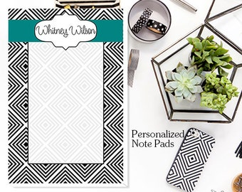 Custom Notepad, Note Pads, Personalized Note Pads,Geo Squares Personalized Notepad -  Custom Note Pads, Monogrammed Note Pads,