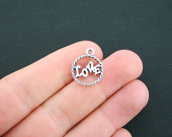 8 Love Charms Antique Silver Tone Circle - SC644