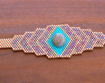 Bracelet en perles - Bracelet en perles sud-ouest - Peyote perlé - OOAK-améthyste Delica Perles Pierre de jaspe