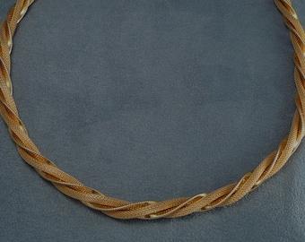 """Vintage Mesh Rope Twist Necklace Goldette - 24"""""""