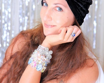 Black Turban Hat in Crushed Velvet - Women's Fashion Headwrap - Bohemian Style Hair Accessories - Lots of Colors