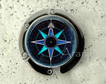 Mariner's compass purse hanger, tabletop purse hanger, purse hanger, purse hook, compass purse hook, purse hanger, compass purse hook HG221H
