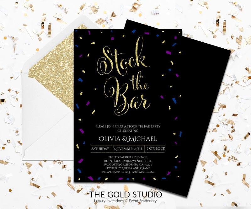 Black Confetti Stock The Bar Engagement Invitation | Blue, Purple ...
