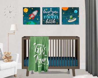 Outer Space Rocketship Love You to the Moon and Back Canvas Wall Art Set of 3