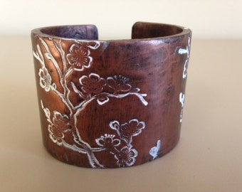 Copper White Wash Cherry Blossom Polymer Clay Cuff Bracelet Handmade by Bethsgemboutique
