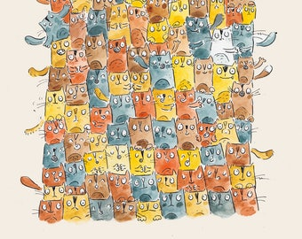 A Catastrophe of Cats Watercolour Art Print