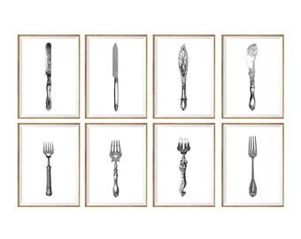 Dining Room Art Print SET of 8. dining room art, dining room prints, dining room decor, dining illustration, dining art, restaurant decor