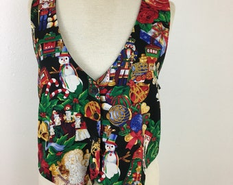 Ugly Christmas Vest- Large- Holiday Party Vest