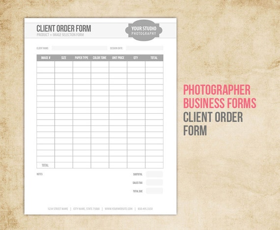 Photography business forms client order form for accmission Gallery