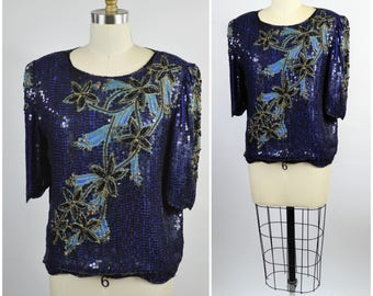 Vintage Sequin Top Blue and Black Sequins and Beads Size Medium Beaded Blouse by Scala Interesting Technique