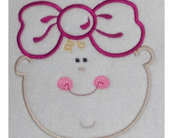 Instant Download Baby Girl with Bow Embroidery Machine Applique Design-920