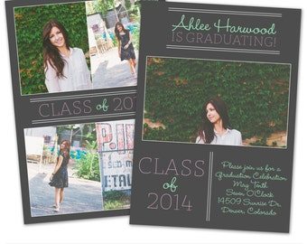 PSD Photoshop Template Senior Graduation Announcement Card Template - SC143
