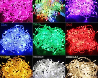 32 feet 100 LED String Fairy Lights Wedding Garden Party Xmas Light, White, Blue, Green, Red Linkable
