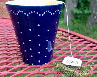 Blue Mug with White Polka Dots