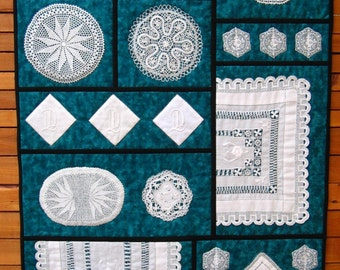 Wall hanging showcases vintage crocheted doilies. Antique linens, home decor, 1920s linens, doily quilt