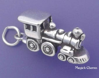 TRAIN Charm .925 Sterling Silver Locomotive ENGINE Pendant - sc440