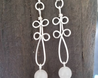 Rose Quartz dangle earrings