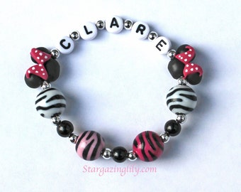NEW Hot Pink Mini Mouse Jewelry Zebra Stripe Beads Personalized Name Bracelet mini mouse ears Pink Black Polka Dots