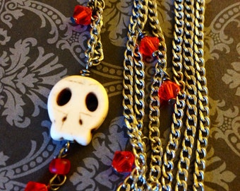 Skull Necklace with Red Beaded Accents