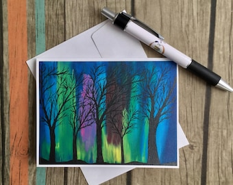 Northern Lights Note Card -Aurora Borealis - Note Card with Envelope - Nature Card -Friendship Card - All Occasion Card