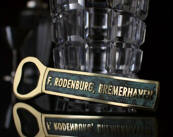 Vintage German Brass Bottle Opener 1960s Patina Patinated Mid Century / 50s 60s Brass Bar Cart Accessories Retro Decor