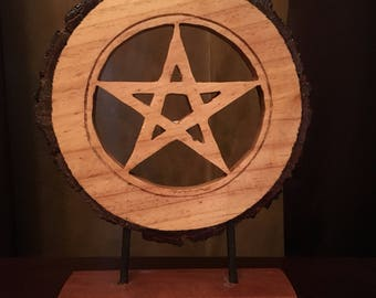 """PENTACLE on Wooden Base 11"""" tall"""