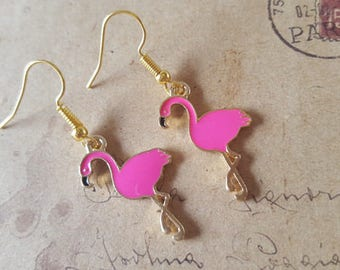 Flamingo earrings ~ gold ~.