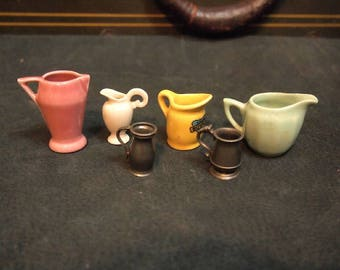 Collection Lot of vintage miniature pitchers mugs ceramic and pewter Jewelry making and assemblage Doll house or curio 1-2 inches tall