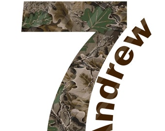 Camo Birthday Number Personalized Digital Download for iron-ons, heat transfer, Scrapbooking, Cards, Tags, Invitations, DIY, YOU PRINT