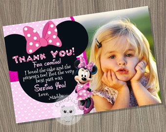 Minnie Mouse Thank You Card, Minnie Mouse Birthday, Minnie Mouse Party, Minnie Mouse card, Minnie Mouse Pink