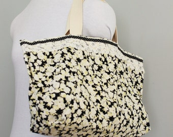 Upcycled Floral and Lace Tote