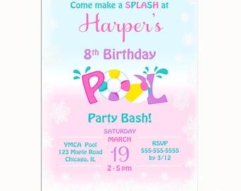 Girl Pool Party Invitation, Boy Pool Party Invitation, Snowflake Pool Party, Winter Pool Party Invitation, Printable Pool Party Birthday