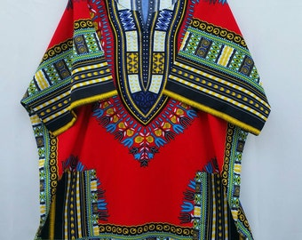 Red African Dashiki Unisex Adult