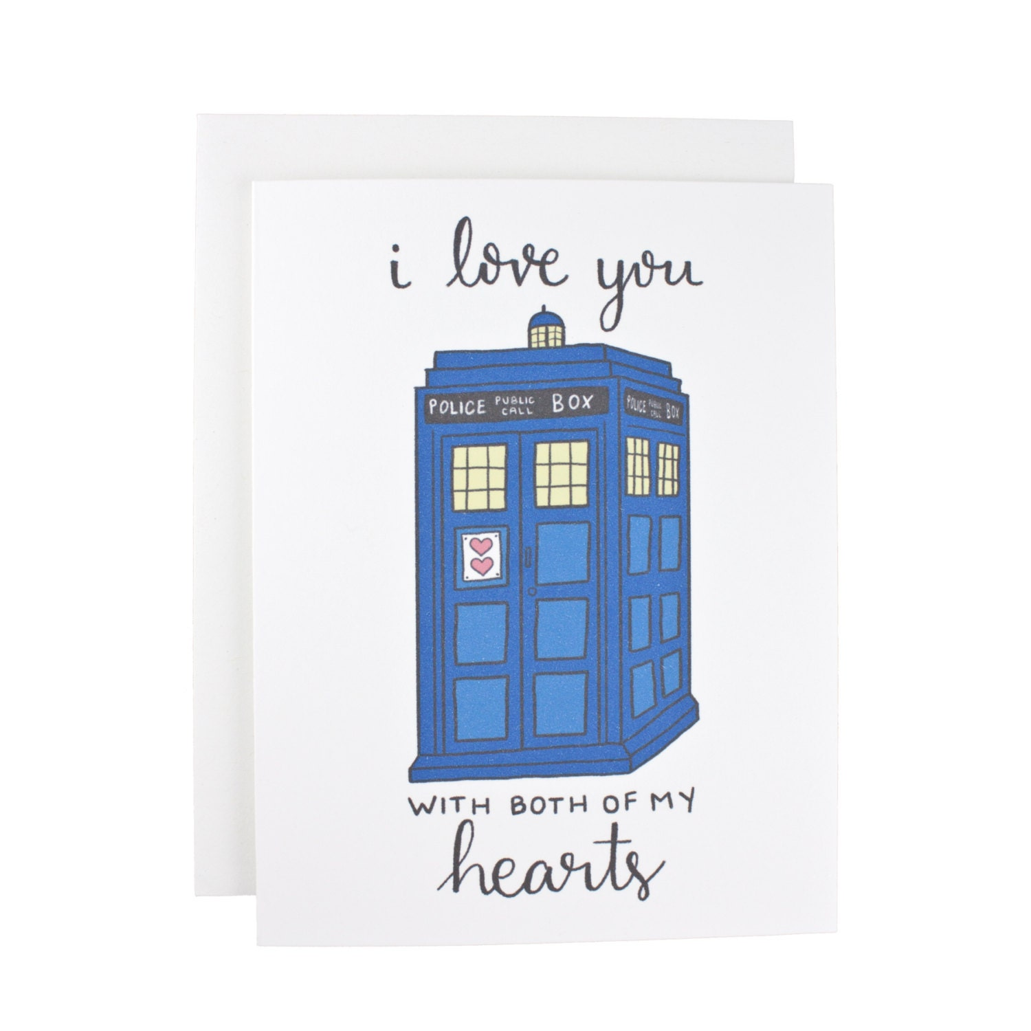 I Love You With Both Of My Hearts greeting card Doctor Who I