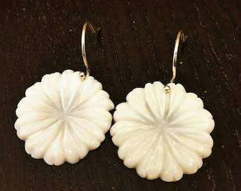 CLEARANCE !!! White Chrysanthemum Mother of Pearl Dangle Earrings